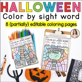 Halloween Coloring Sheets | Editable Color by Sight Words