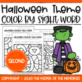 Color by Sight Word Halloween Second Grade Worksheets