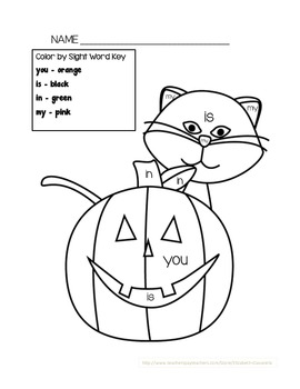 Color by Sight Word Halloween Theme (you, is, in, my)
