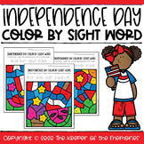 Color by Sight Word Independence Day Preschool & Kindergar