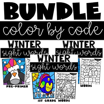 Color by Sight Word January with Preprimer Primer and 1st Grade Words