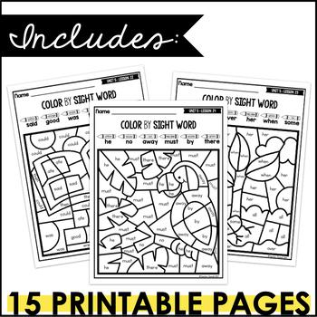 Journeys Color by Sight Word Kindergarten Units 1-6