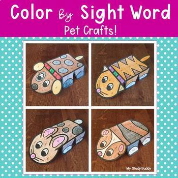 Color by Sight Word Pet Crafts