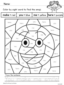 Color by Sight Word - Pre-Primer List