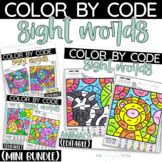 Color by Sight Word Pre-Primer and Primer Animals, Dinosaurs and Space Bundle