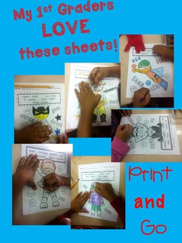 Color by Sight Word - Superhero  No Prep Pre-Primer and Primer Dolch Sight Words