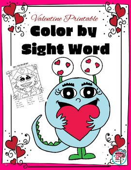 Color by Sight Word Valentine's Day Edition