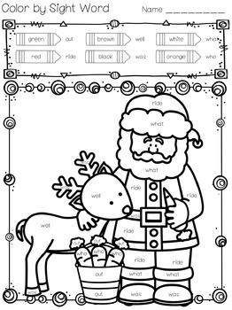 Color by Sight Words Christmas