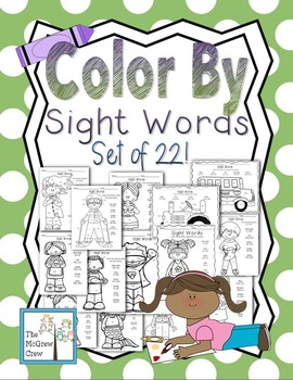 Color by Sight Words Color Pages K-1 set of 22!