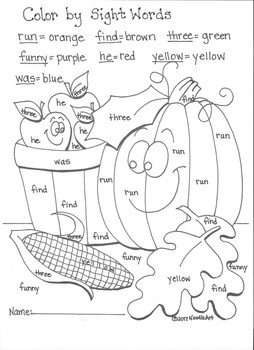 Kindergarten Color by Sight Words Coloring Pages (Something for all seasons)