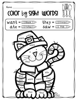 Color by Sight Words + Coloring Pages, Thanksgiving Theme ...
