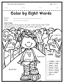 Color by Sight Words ~ FALL Edition Bundle!