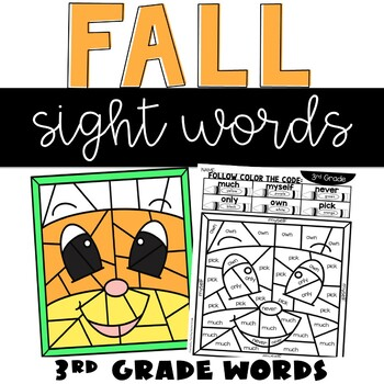 Color by Sight Words Fall with 3rd Grade Words