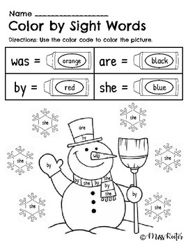 Color by Sight Words Holiday Pictures