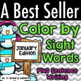 Color by Sight Words ~ PLUS Sentence Writing ~ January Edition