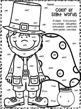Color by Sight Words ~ Plus sentence writing ~ March Edition