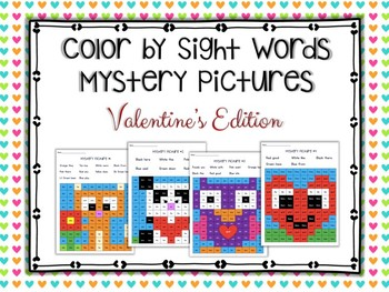 Color by Sight Words Mystery Pictures: Valentine's Edition