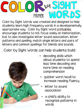 Color by Sight Words Primer Season Bundle (Growing) Sight Word Activities