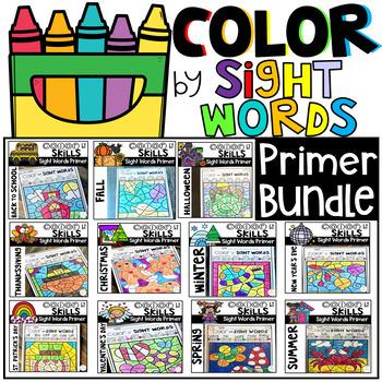 Color by Code Sight Words Primer Season Bundle Sight Word Activities