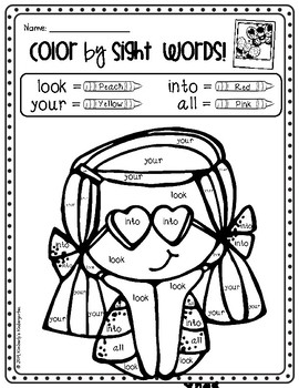 Color by Sight Words, Roll & Color, Coloring Pages. Valentine\'s Day Theme!