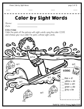 Color by Sight Words ~ SUMMER Edition (Primer)
