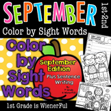 Color by Sight Words~ PLUS sentence writing September Edition for 1st-2nd Grade