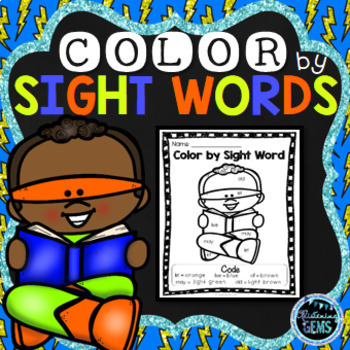 Color by Sight Words - Superhero Theme - 1st Grade Sight Words