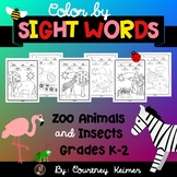 Color by Sight Words Zoo Animals & Insects Coloring Pages