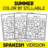 Color by Spanish Syllable - Summer Activities
