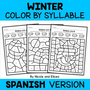 Color by Spanish Syllable - Winter Activities