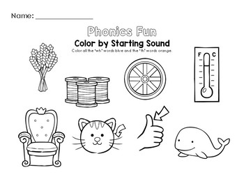 Color by Starting Sound Worksheet (The WH and TH Digraphs)