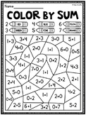 Color by Sum Addition Fact Fluency Worksheets