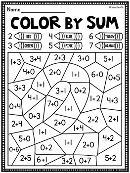 Color by Sum Addition Fact Fluency Worksheets by Miss ...