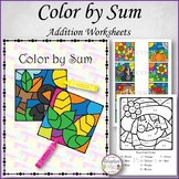 Color by Sum Fall Theme Single Digit Addition Worksheets (Adaptive Tasks)