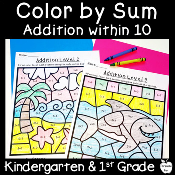 Color by Sum ~ Addition to 10 ~ Ocean Themed Sheets