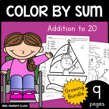 Growing Bundle! Color by Sum: Addition to 20 - 1.OA.6
