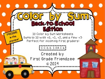 Color by Sum: Back to School Edition for 1st Grade