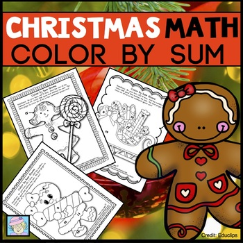 Color by Sum:  Christmas / Holiday Version (Common Core Based)