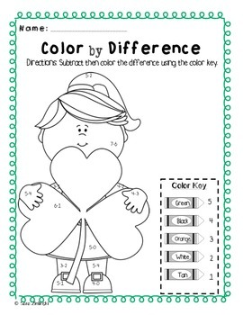 Color by Code Sum & DIfference St. Patrick's Day