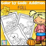 Color by Number Addition Kindergarten 1st 2nd | Color by Code Addition for Fall