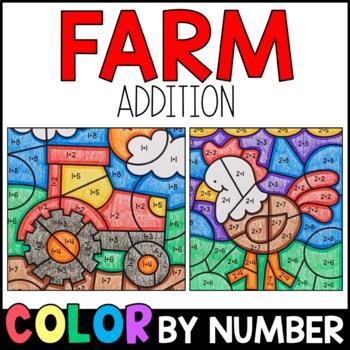 Color by Sum: Farm Fun Addition Practice