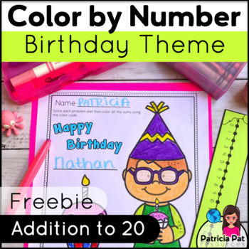 Color by Addition within 20  Birthday  FREEBIE