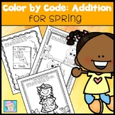 Spring Coloring Pages | Color by Code Addition | Math Worksheets Kinder 1st 2nd