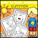 Color by Number Addition | Summer Coloring Pages Kindergarten 1st 2nd