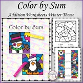 Color by Sum Winter Theme Single Digit Addition Worksheets (Adaptive Tasks)