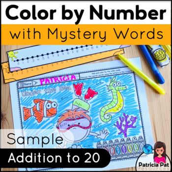 addition math center coloring page free color by number tpt