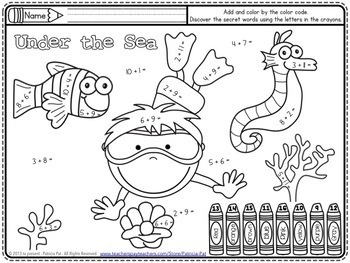 addition math center coloring page free color by number tpt. Black Bedroom Furniture Sets. Home Design Ideas
