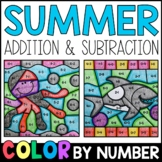 Color By Number: Summer Addition and Subtraction Practice