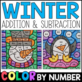 Color by Sum and Difference: Winter Addition and Subtraction Practice