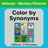 Color by Synonyms - Animals Mystery Pictures